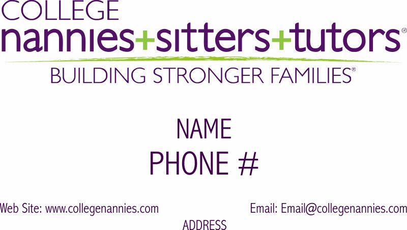 College Nannies sitter and tutors custom Business Cards