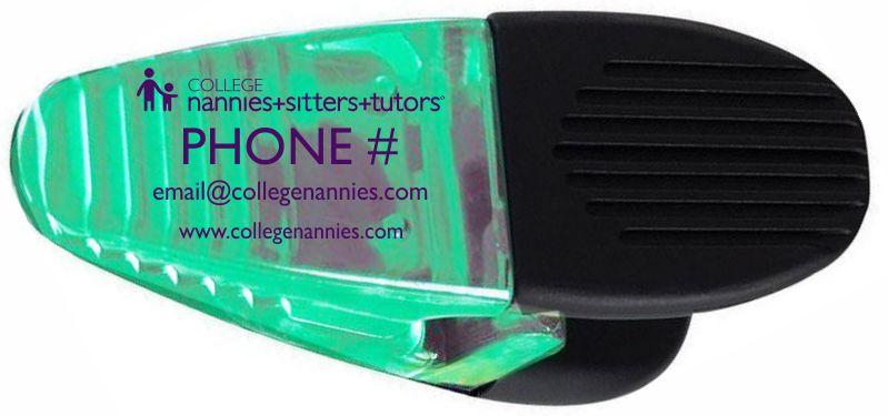 Custom College Nannies + Sitters + Tutors Clip Chip Holder